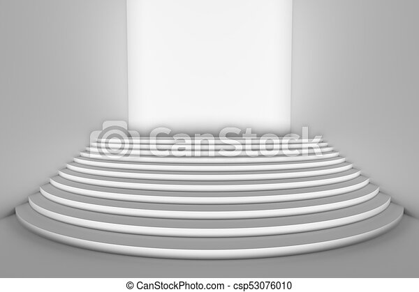 White Round Stairs In Empty White Room Wide Angle With Direct Front Light    Csp53076010