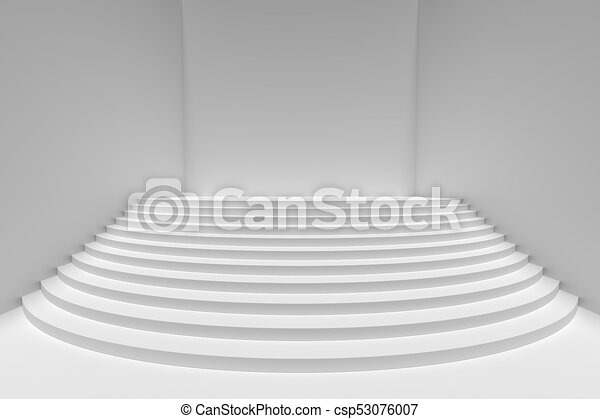 White Round Stairs In Empty White Room Wide Angle, Light From Top    Csp53076007