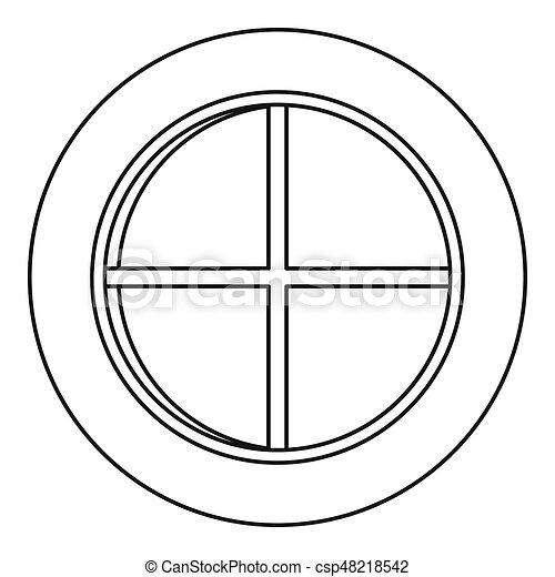 white round window icon outline white round window icon