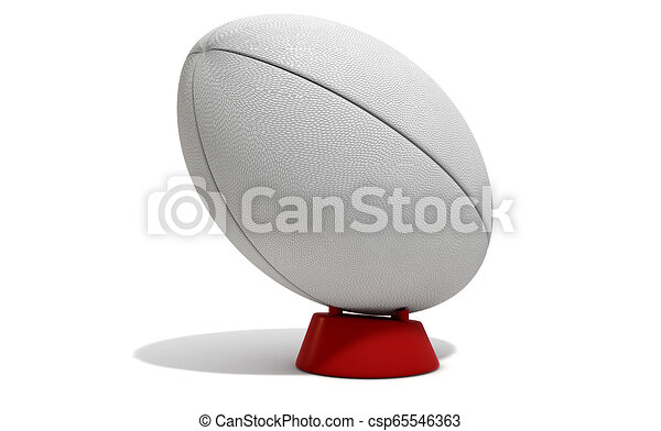 White Rugby Ball A Plain White Textured Rugby Ball On A Kicking Tee On A Isolated White Background 3d Render
