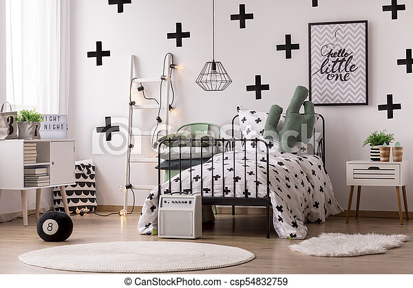White Scandinavian Bedroom Interior White Round Rug Near Bed With Patterned Blanket In Scandinavian Bedroom Interior With Canstock