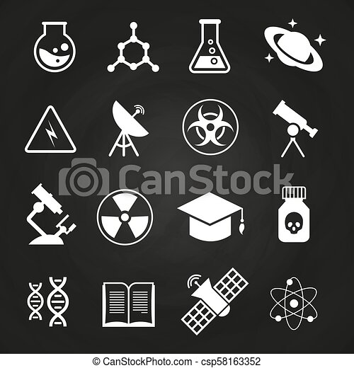White science vector icons on chalkboard - csp58163352