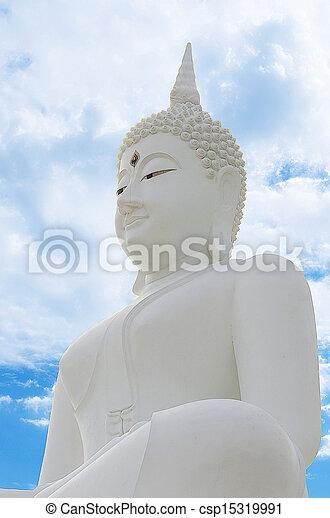 White Seated Buddha Image in Attitude of Subduing Mara - csp15319991