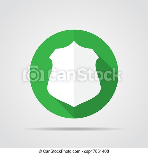 White shield in flat design with long shadow. Simple shield icon on a green circle. Vector illustration. - csp47851408