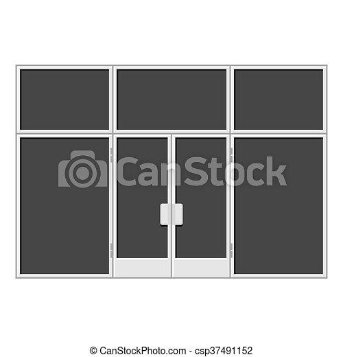White Shopfront with Large Black Blank Windows. Vector - csp37491152