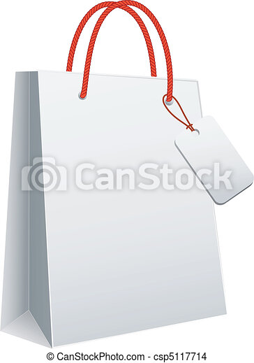 white shopping bag, vector - csp5117714