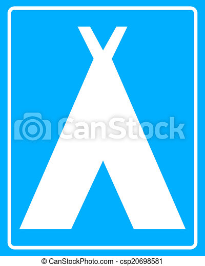 White Sign Camping On A Blue Background In Frame