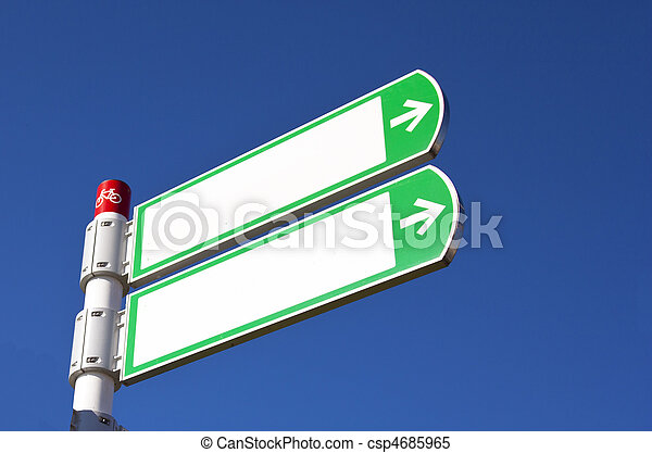 white sign with blue sky - csp4685965