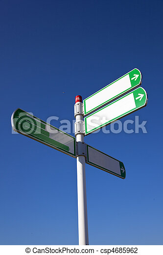 white sign with blue sky - csp4685962