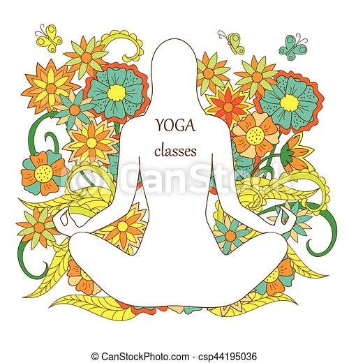 white silhouette girl in yoga lotus pose on floral