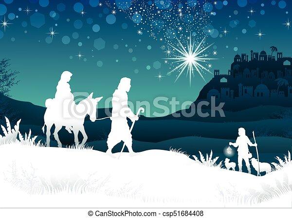 White Silhouette Mary and Joseph - csp51684408