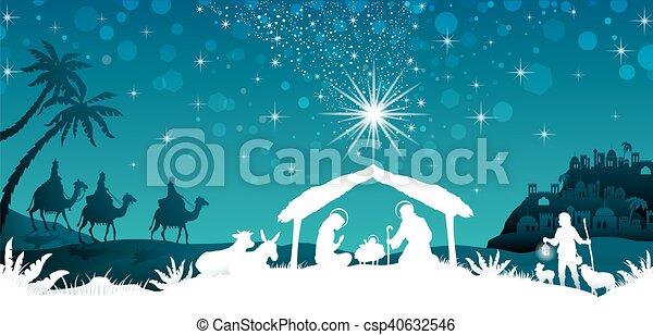 White silhouette nativity scene - csp40632546