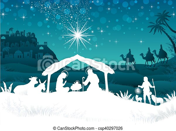 White silhouette nativity scene with magi - csp40297026