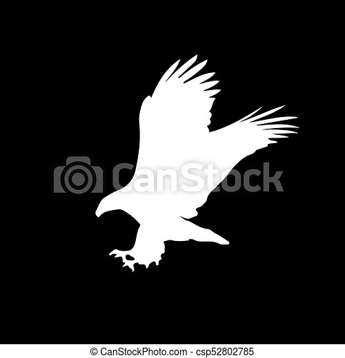 White silhouette of eagle isolated on black background vector illustration clip art icon sign symbol of eagle for design