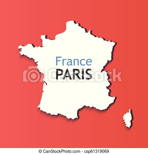 Map Of France With Paris.White Silhouette Of France Caption On Contour Of Map