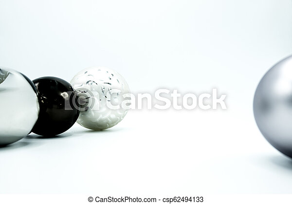 Black Christmas Balls.White Silver And Black Christmas Balls On White