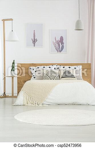 White Simple Bedroom Interior Beige Blanket On Kingsize Bed Beauteous Simple White Bedroom Interior