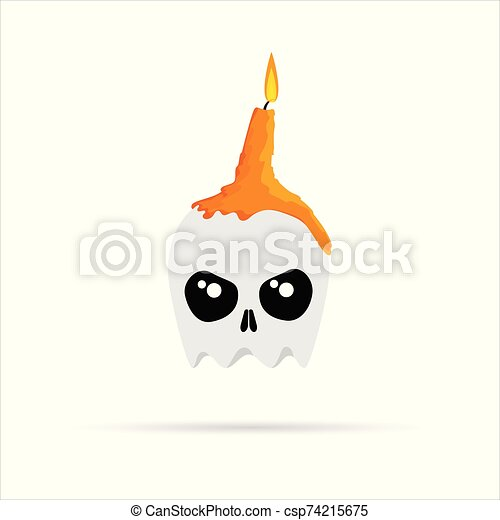 White skull with melted orange burning candles on Halloween. Vector illustration. - csp74215675