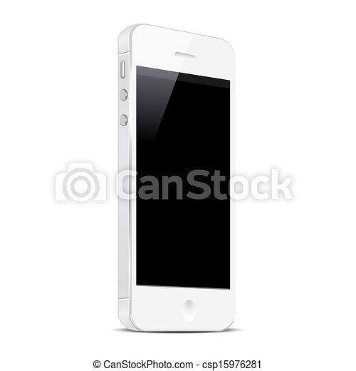 White Smart Phone isolated on white background - csp15976281