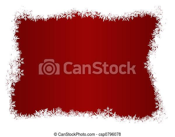 White Snow Flake Christmas Border - csp0796078