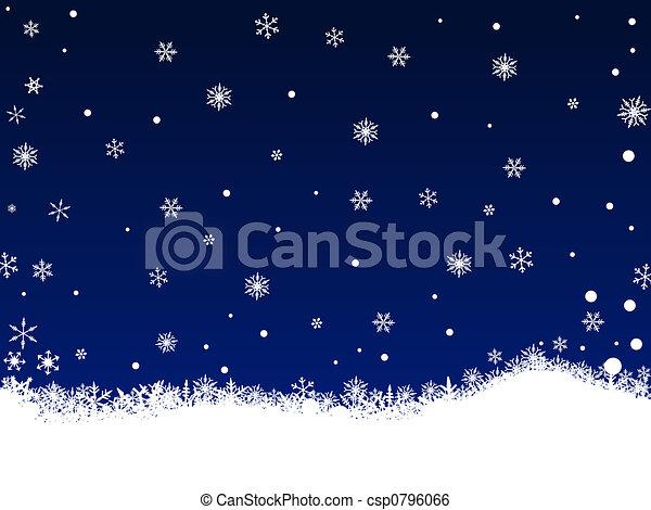 White Snow Flakes on Dark Blue - csp0796066