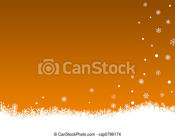 White Snow Flakes on Orange - csp0796174