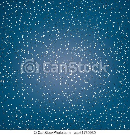 White Snowflakes in the Night Sky - csp51760930
