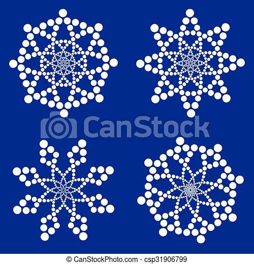 white snowflakes on dark blue background - csp31906799