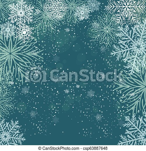 White snowflakes on dark blue background. Merry Christmas Greetings card - csp63887648