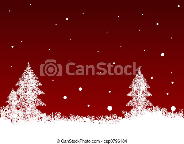 White SnowFlakes on Dark Red - csp0796184