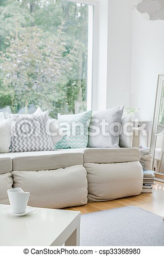 White Sofa With Cushions Image Of White Sofa With Cushions In