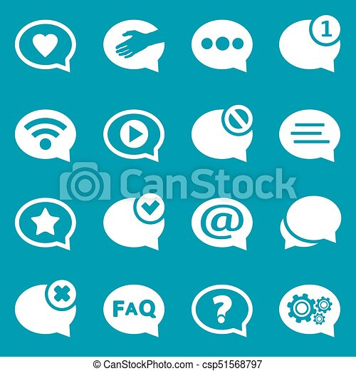 White speech bubble icons set for web and mobile application - csp51568797