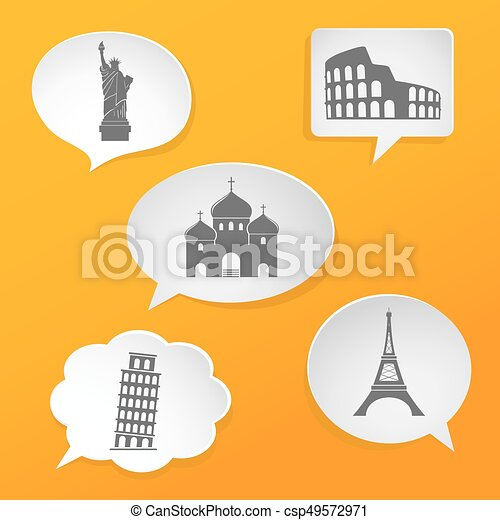 White speech bubbles with landmarks icons - csp49572971