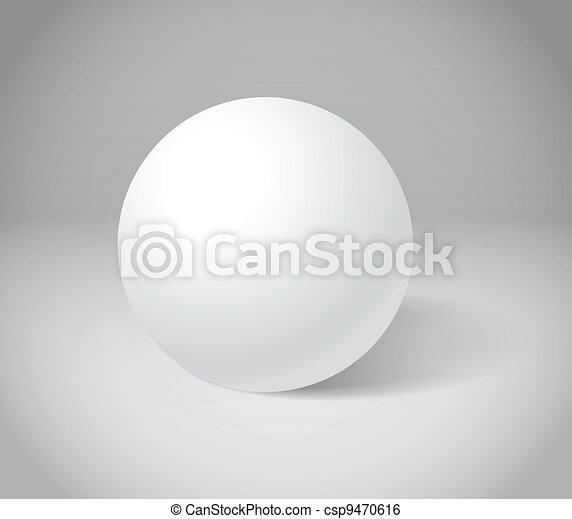 White sphere on grey scene - csp9470616