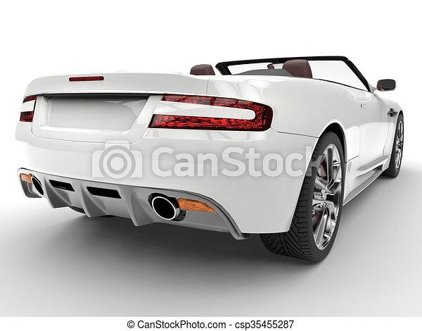 White sports car - tail closeup - csp35455287