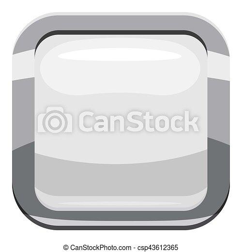 White square button icon, cartoon style - csp43612365