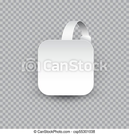 White square paper wobbler isolated on transparent background. - csp55301038