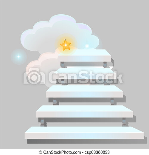 White stair leading into the clouds isolated on grey background. Sketch for greeting card, festive poster or party invitations. The way to get a star. Vector cartoon close-up illustration. - csp63380833