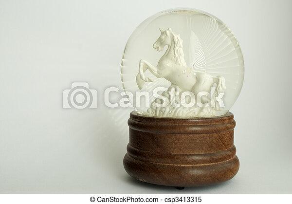 White Stallion Snowglobe - csp3413315