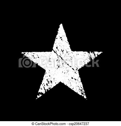 White Star Grunge Over Black Background Computer Generated