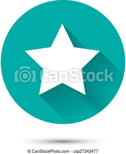 White star icon on green background with shadow - csp27242477