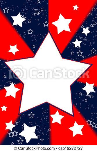 White stars, red & blue background - csp19272727