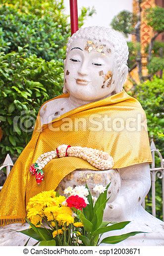 White Stone Buddha Statue at temple - csp12003671