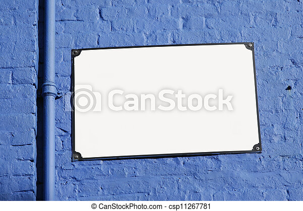 White Street Sign Board on Blue Background - csp11267781