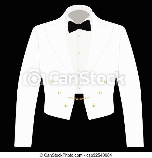 White suit with black bow tie - csp32540084