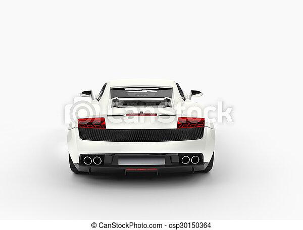 White Super Car Back View