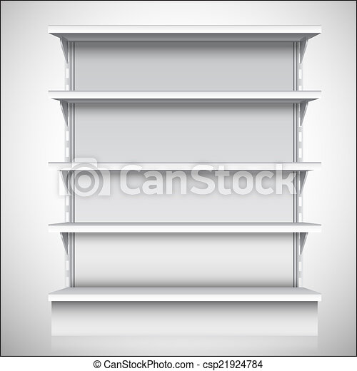 White supermarket shelves - csp21924784