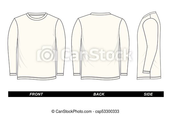 White T Shirt Template Long Sleeve Front Back Side Isolated On A