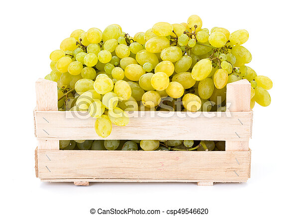 White table grapes (Vitis) in wooden crate - csp49546620