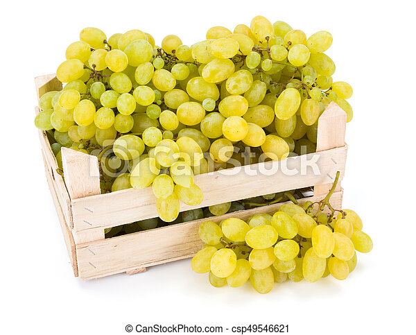 White table grapes (Vitis) in wooden crate - csp49546621
